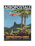 Advertisement for the French Airmail Service, 1929 Giclée-tryk