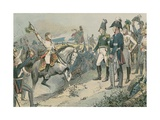 The Three Allied Rulers at the Battle of Leipzig in 1813 Giclee Print by Carl Rohling
