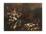 Still Life with Flowers, Fruit, Mushrooms and Birds Giclee Print by Paolo Porpora