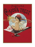 Product Label Depicting a Cherub Playing a Trombone Giclee Print