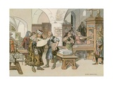 John Cicero Attending the First Book Printer in Stendal in 1490 Giclee Print by Carl Rohling