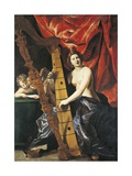 Venus Playing Harp, Allegory of Music Giclee Print by Giovanni Lanfranco