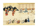Futari Saruwaka, Scene from Theatre Play Giclee Print by Hishikawa Moronobu