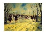 Royal Piedmont Cavalry Regiment on March Giclee Print by Antonio Mancini