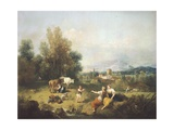 Landscape with Young Shepherdesses Giclee Print by Francesco Zuccarelli
