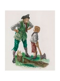 George Washington, Having Cut Down the Cherry Tree, with His Father Giclee Print by Peter Jackson