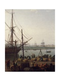 Port of Rochefort, Unloading Deck, 1762 Giclee Print by Claude-Joseph Vernet