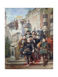 A Royal Procession Descending a Stairway in a Garden, 1869 Giclee Print by Eugene-Louis Lami