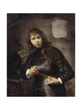 A Soldier, Standing Three-Quarter Length, Buckling His Belt Giclee Print by Willem Drost