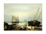 Beached for Repairs, Duncan's Point, Gloucester, 1848 Giclee Print by Fitz Henry Lane