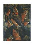 Group of Figures with Raised Hand; Figurengruppe Mit Erhobener Hand, 1941 Giclee Print by Oskar Schlemmer