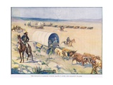 The Bullock Waggons Wound Slowly over the Billowy Plains Giclee Print by Joseph Ratcliffe Skelton