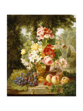 A Vase of Summer Flowers and Fruit on a Ledge in a Landscape, 1867 Giclee Print by William John Wainwright