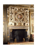 Fireplace with Round Image of Venus and Adonis Giclée-tryk af Francesco Primaticcio