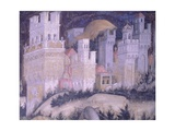 St George and Princess, Turreted City Giclée-tryk af Antonio Pisanello