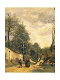 Street in Ville D'Avray, 1874 Giclee Print by Jean-Baptiste-Camille Corot