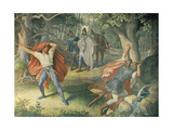 Hagen Killing Siegfried at Fountain, Hall of Nibelungens, 1831-1867 Giclee Print by Julius Schnorr von Carolsfeld