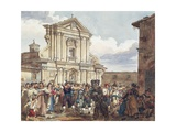 Bear Dance at Holy Mary of Staircase in Rome Giclee Print by Achille Pinelli