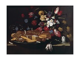 Still Life with Bread, Biscuits and Flowers Giclee Print by Giuseppe Recco