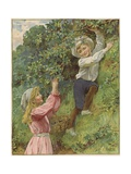A Young Girl and a Young Boy Picking Blackberries Giclee Print by Eveline Lance