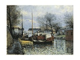 Barges on Canal Saint Martin, 1870 Giclee Print by Alfred Sisley