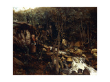 Lormes - a Torrent with a Standing Peasant, Spinning Wool, 1842 Giclee Print by Jean Baptiste Camille Corot