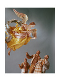 Angel and Shepherds, from the Christmas Creche and Tree Giclee Print