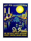 On the Reeperbahn, St. Pauli', Poster Advertising Hamburg, 1936 Stampa giclée