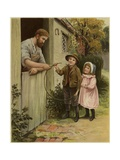 A Young Boy and Young Girl Giving a Broken Hoop to a Blacksmith for Repair Giclee Print