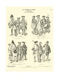 German and Austrian Military Uniforms, 18th Century Giclee Print