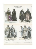 Costumes of Members of the Crusading Orders, 12th and 13th Century Giclée-tryk