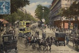 Postcard Depicting the Carrefour Drouot on Le Boulevard Montmartre Photographic Print