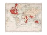 Chart of the World Showing the British Empire, 1901 Giclée-tryk