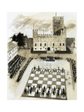 A Giant Game of Chess Is Part of a Festival at the Town of Marcostica Giclee Print
