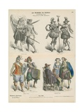 German Military and Bourgeois Costumes, Early 17th Century Giclee Print