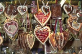 Christmas Market: Heart-Shaped Pendants on Display Photographic Print