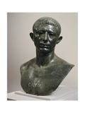 Bronze Bust of Cato the Younger, 60 A.D., House of Venus, from Volubilis Giclée-tryk