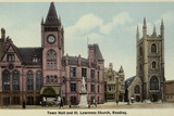 Town Hall and St Lawrence Church, Reading, Berkshire Photographic Print