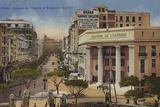 Bank of Algeria and Boulevar Gallieni, Oran, Algeria Fotografisk tryk