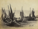 Fishing Boats Pulled Up onto the Beach at Shoreham-By-Sea, C.1880 Photographic Print