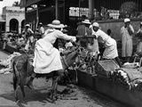 Vendors and Customers Outside the Iron Market in Port-Au-Prince, C.1959 Photographic Print
