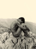 Study of a Male Nude on a Rock, Taormina, Sicily, C.1900 Photographic Print by Wilhelm Von Gloeden