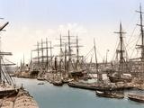 Tall Ships and Barges Docking at Hamburg, Pub. C.1895 Photographic Print