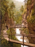 Path and Bridge in the Almbach Gorge in Berchtesgaden, Bavaria, 1890-1900 Photographic Print