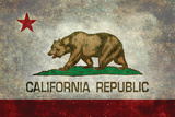 California State Flag With Distressed Treatment Cartel de plástico por Bruce stanfield