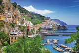 Travel In Italy Series - View Of Beautiful Amalfi Plastic Sign by  Maugli-l
