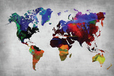 World Watercolor Map 12 Plastic Sign