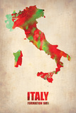 Italy Watercolor Map Wall Sign