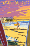 San Diego, California - Beach and Pier Wall Sign
