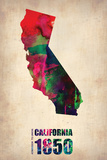 California Watercolor Map Plastic Sign by  NaxArt